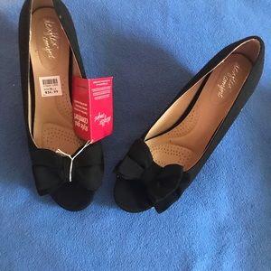 Black peep toe wedge heels